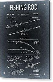 1969 Fishing Rod Blueprint Acrylic Print