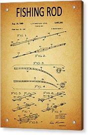 1969 Fishing Rod Patent Acrylic Print