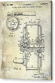 1969 Fly Reel Patent Acrylic Print by Jon Neidert