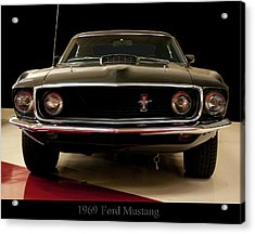 Acrylic Print featuring the digital art 1969 Ford Mustang by Chris Flees