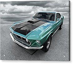 1969 Green 428 Mach 1 Cobra Jet Ford Mustang Acrylic Print