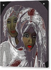 Acrylic Print featuring the digital art 1969 -  White Veils by Irmgard Schoendorf Welch