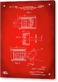 Acrylic Print featuring the digital art 1969 Short Wave Electromagnetic Radiation Patent Red by Nikki Marie Smith