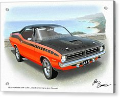 1970 Barracuda Aar  Cuda Classic Muscle Car Acrylic Print by John Samsen
