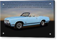 Acrylic Print featuring the photograph 1970 Oldsmobile Cutlass Sx 455 Convertible   -   1970cutlasssxwithtext170496 by Frank J Benz