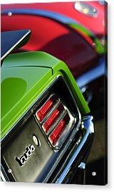 1970 Plymouth Barracuda Cuda Taillight Emblem Acrylic Print by Jill Reger
