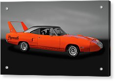 Acrylic Print featuring the photograph 1970 Plymouth Road Runner Superbird  -  1970plysuperbirdgry170528 by Frank J Benz
