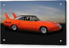 Acrylic Print featuring the photograph 1970 Plymouth Road Runner Superbird  -  1970superbird170528 by Frank J Benz