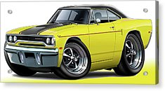 1970 Roadrunner Yellow Car Acrylic Print by Maddmax