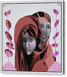 Acrylic Print featuring the digital art 1971- Rosecoloured Portrait 2017 by Irmgard Schoendorf Welch