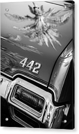 1971 Oldsmobile 442 Convertible Taillight Emblem -0445bw Acrylic Print by Jill Reger