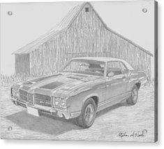 1971 Oldsmobile Cutlass Supreme Muscle Car Art Print Acrylic Print by Stephen Rooks