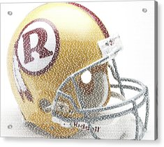 1971 Redskins Helmet Greatest Players Mosaic Acrylic Print by Paul Van Scott