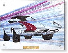 1972 Barracuda  Vintage Styling Design Concept Sketch Acrylic Print by John Samsen