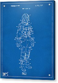 1973 Astronaut Space Suit Patent Artwork - Blueprint Acrylic Print by Nikki Marie Smith