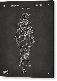 1973 Astronaut Space Suit Patent Artwork - Gray Acrylic Print by Nikki Marie Smith