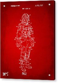 1973 Astronaut Space Suit Patent Artwork - Red Acrylic Print by Nikki Marie Smith