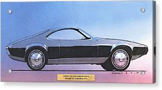 1973 Duster  Plymouth  Vintage Styling Design Concept Sketch Acrylic Print by John Samsen