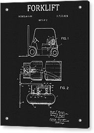 1973 Forklift Patent Acrylic Print by Dan Sproul