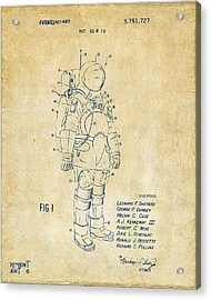 1973 Space Suit Patent Inventors Artwork - Vintage Acrylic Print by Nikki Marie Smith
