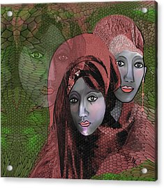 Acrylic Print featuring the digital art 1974 - Women In Rosecoloured Clothes - 2017 by Irmgard Schoendorf Welch