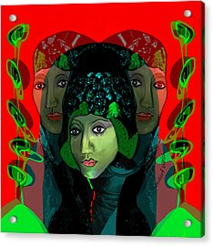 Acrylic Print featuring the digital art 1975 - Mystery Woman by Irmgard Schoendorf Welch