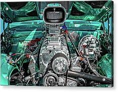 Acrylic Print featuring the photograph 1975 Pontiac Ventura Engine Detail   -   1975pontiacv8enginedetail170550 by Frank J Benz