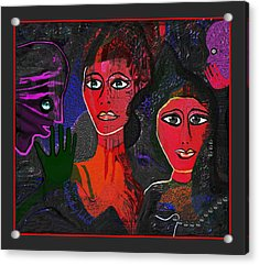 Acrylic Print featuring the digital art 1977 - Faces Red by Irmgard Schoendorf Welch