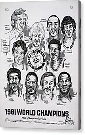 1981 Boston Celtics Championship Newspaper Poster Acrylic Print by Dave Olsen
