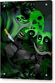 Acrylic Print featuring the digital art  1982 Violence And Fear 2017 by Irmgard Schoendorf Welch