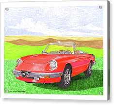 Acrylic Print featuring the painting 1983 Alfa Romero Spider Veloce by Jack Pumphrey