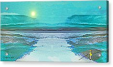 Acrylic Print featuring the digital art 1983 - Blue Waterland -  2017 by Irmgard Schoendorf Welch