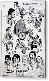 1984 Boston Celtics Championship Newspaper Poster Acrylic Print by Dave Olsen