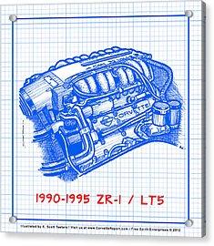 1990-1995 C4 Zr-1 Lt5 Corvette Engine Blueprint Acrylic Print