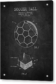 1996 Soccer Ball Patent Drawing - Charcoal - Nb Acrylic Print by Aged Pixel