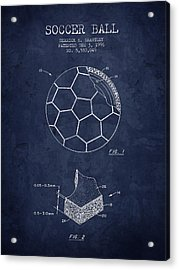 1996 Soccer Ball Patent Drawing - Navy Blue - Nb Acrylic Print by Aged Pixel