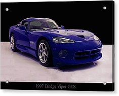 Acrylic Print featuring the digital art 1997 Dodge Viper Gts Blue by Chris Flees