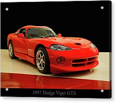Acrylic Print featuring the digital art 1997 Dodge Viper Gts Red by Chris Flees