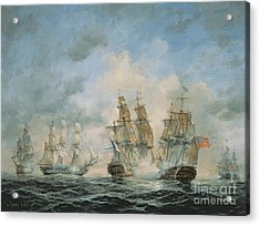 19th Century Naval Engagement In Home Waters Acrylic Print by Richard Willis
