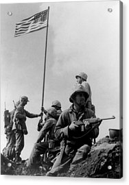 1st Flag Raising On Iwo Jima  Acrylic Print by War Is Hell Store