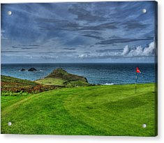 1st Green Cape Cornwall Golf Club Acrylic Print by Chris Thaxter