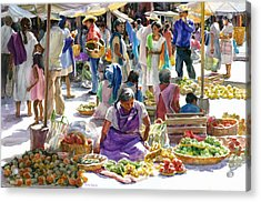 Saturday Market Acrylic Print by Carolyn Epperly