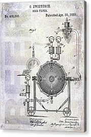 1889 Beer Filter Patent Acrylic Print