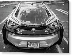 Acrylic Print featuring the photograph 2015 Bmw I8 Hybrid Sports Car Bw by Rich Franco