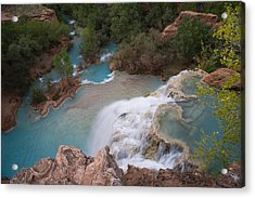 A Blue Waterfall Wets The Arid Acrylic Print by Taylor S. Kennedy