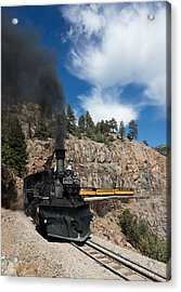 A Durango And Silverton Narrow Gauge Scenic Railroad Train Chugs Through The San Juan Mountains Acrylic Print by Carol M Highsmith
