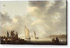 A Pier In Dordrecht Harbor Acrylic Print