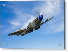 A Supermarine Spitfire Mk-18 In Flight Acrylic Print by Scott Germain