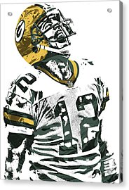 Aaron Rodgers Green Bay Packers Pixel Art 4 Acrylic Print by Joe Hamilton