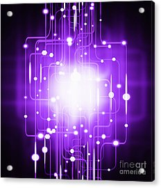 Abstract Circuit Board Lighting Effect  Acrylic Print
